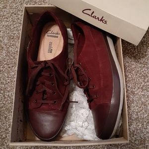 Clarks: Maroon Suede Tennis Shoes (size 9)